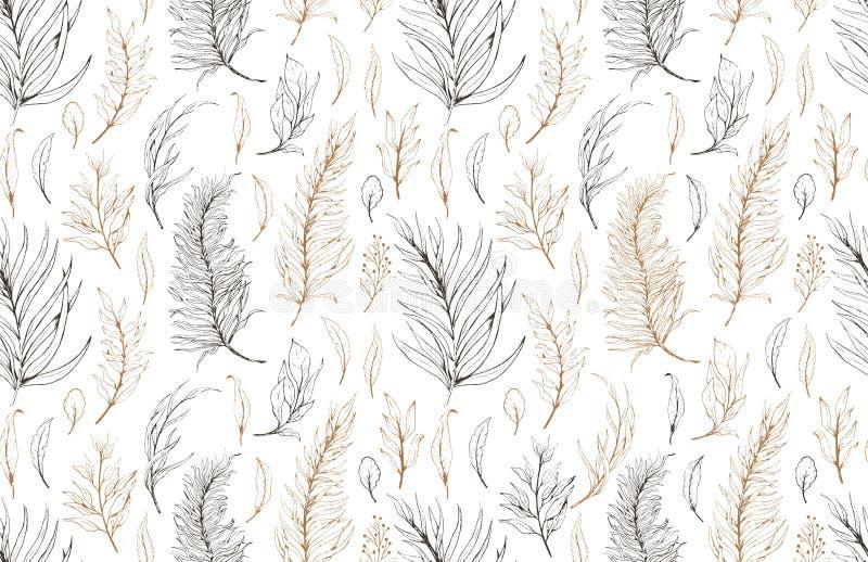 Hojas inconsútiles de la planta del modelo del bosquejo, sistema de dibujo de la naturaleza Línea botánica floral gráfica hierba  libre illustration