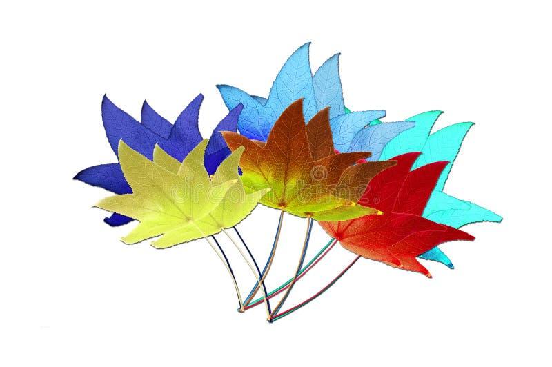 Hojas multicoloras stock de ilustración