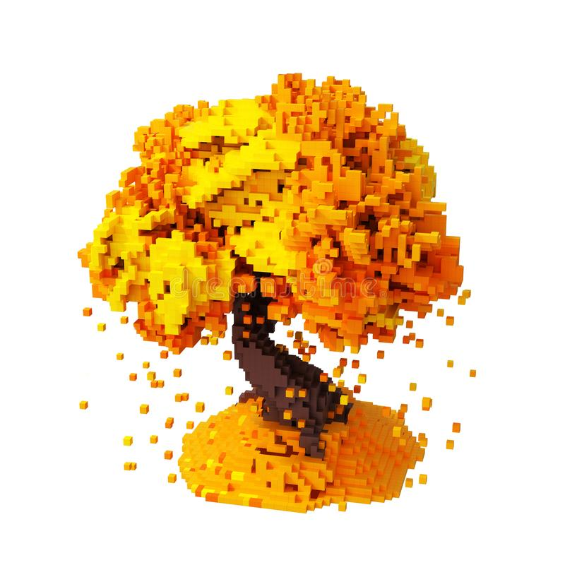 Hojas que caen de Digitaces Pixelated de un fondo de Autumn Tree Isolated Over White libre illustration