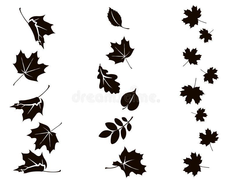 Hojas que caen del otoño Ornamento vertical con la silueta de la hoja ilustración del vector