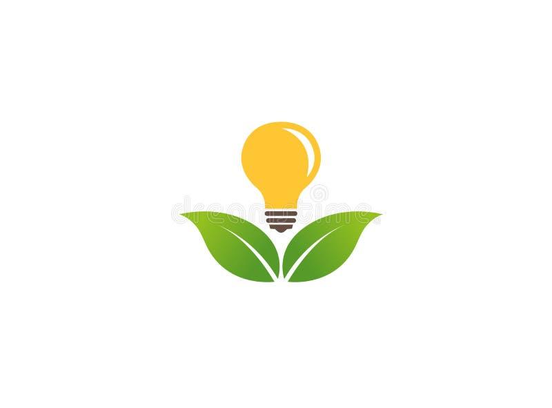 Hojas que sostienen una lámpara para ahorrar la energía para el ejemplo del diseño del logotipo stock de ilustración