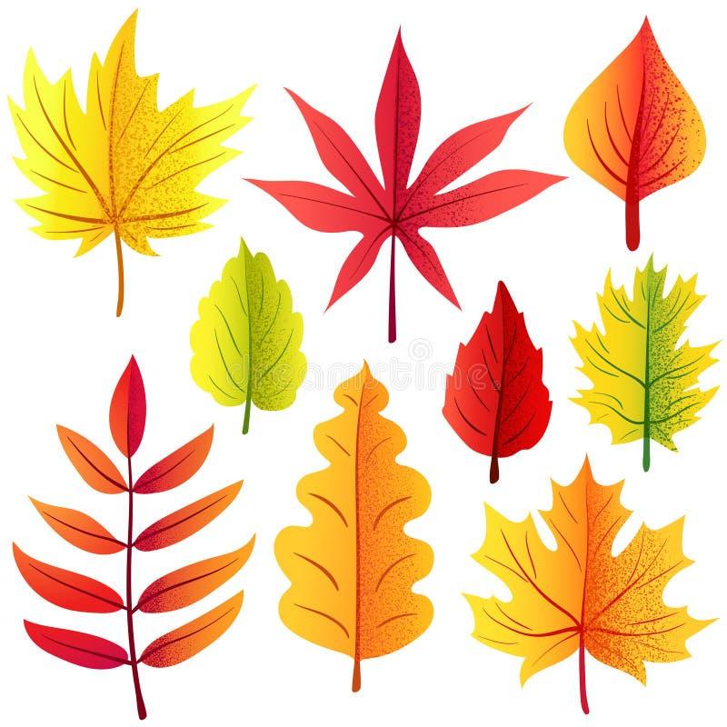 Hojas retras del otoño fijadas stock de ilustración