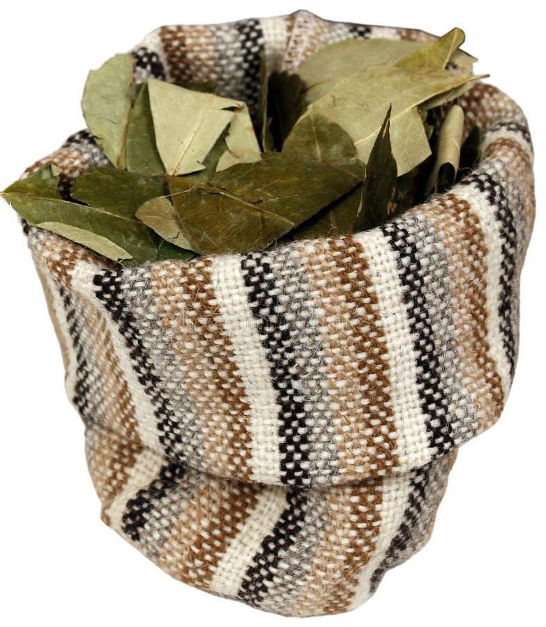 Hojas secadas de la coca en saco del yute. imágenes de archivo libres de regalías