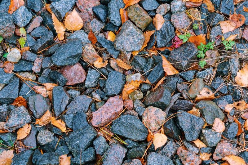 Hojas secas entre las pequeñas piedras, montón de piedras a lo largo del carril foto de archivo