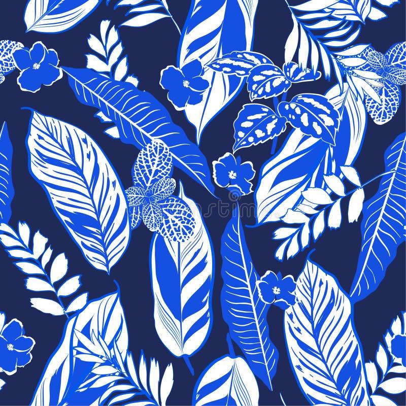 Hojas tropicales azules monótonas y vect inconsútil del modelo del follaje stock de ilustración
