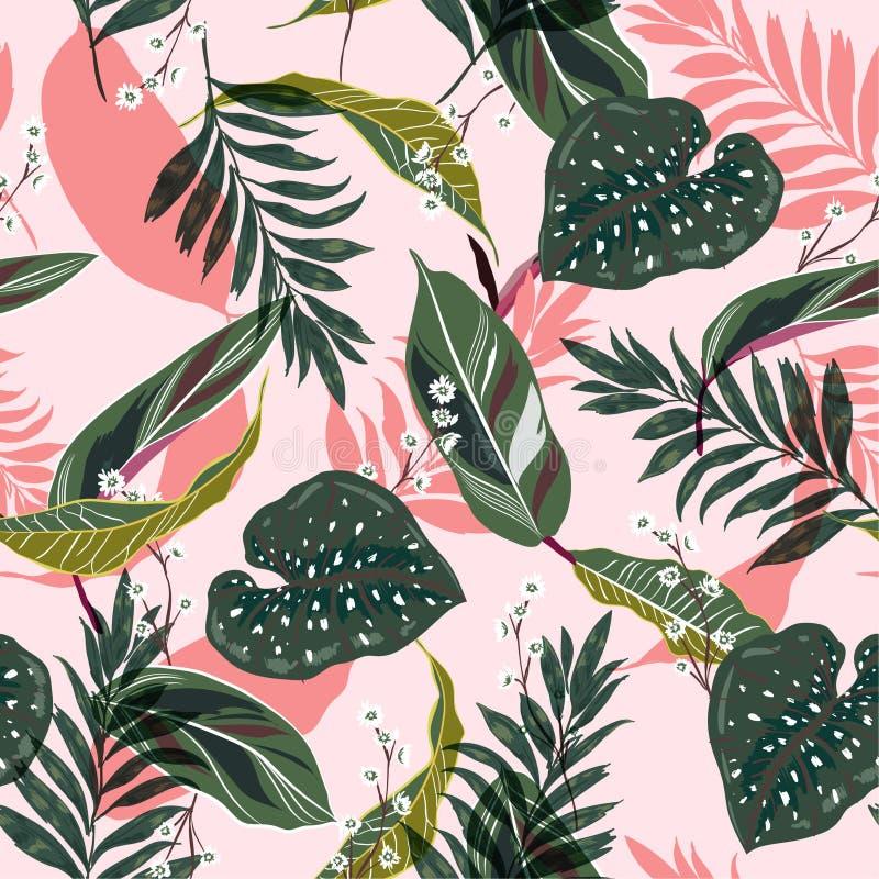 Hojas tropicales brillantes y frescas Diseño gráfico inconsútil con p stock de ilustración
