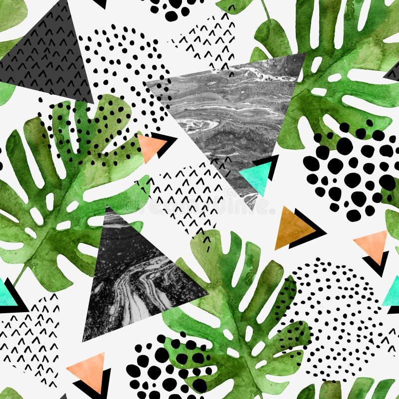 Hojas tropicales de la acuarela y fondo texturizado de los triángulos ilustración del vector