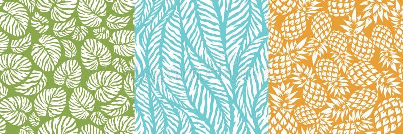 Hojas tropicales de la palmera del verano, piña, monstera en un modelo inconsútil ilustración del vector