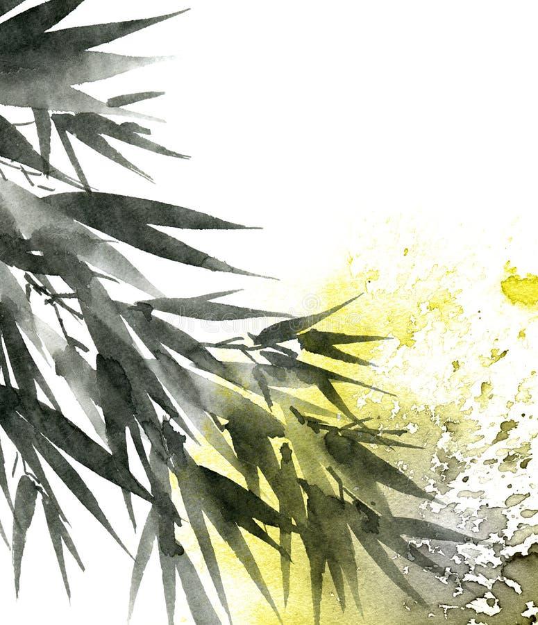 Hojas tropicales del bambú stock de ilustración