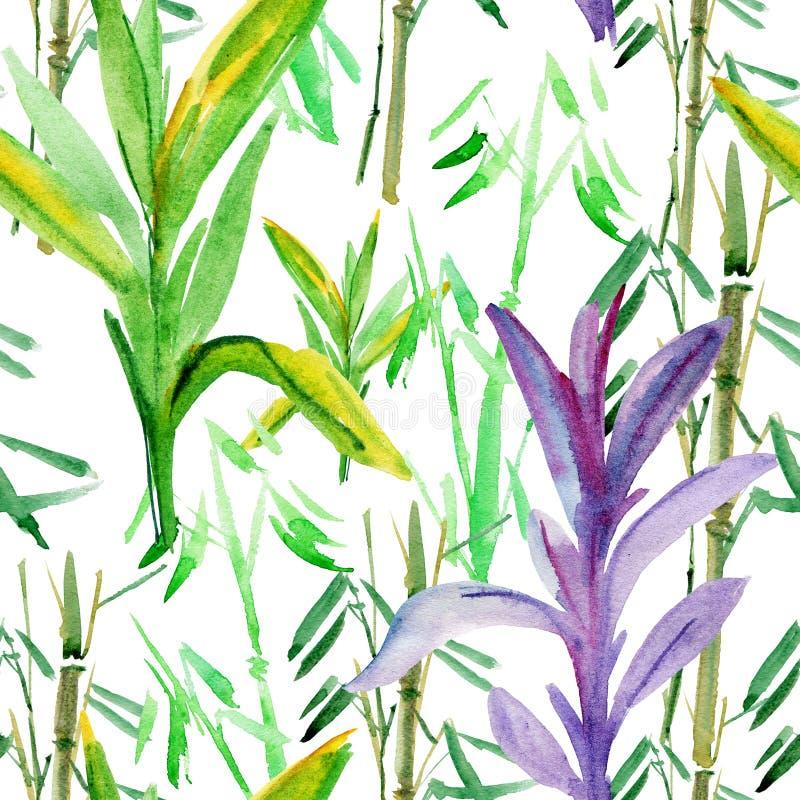 Hojas tropicales del fondo de bambú ilustración del vector