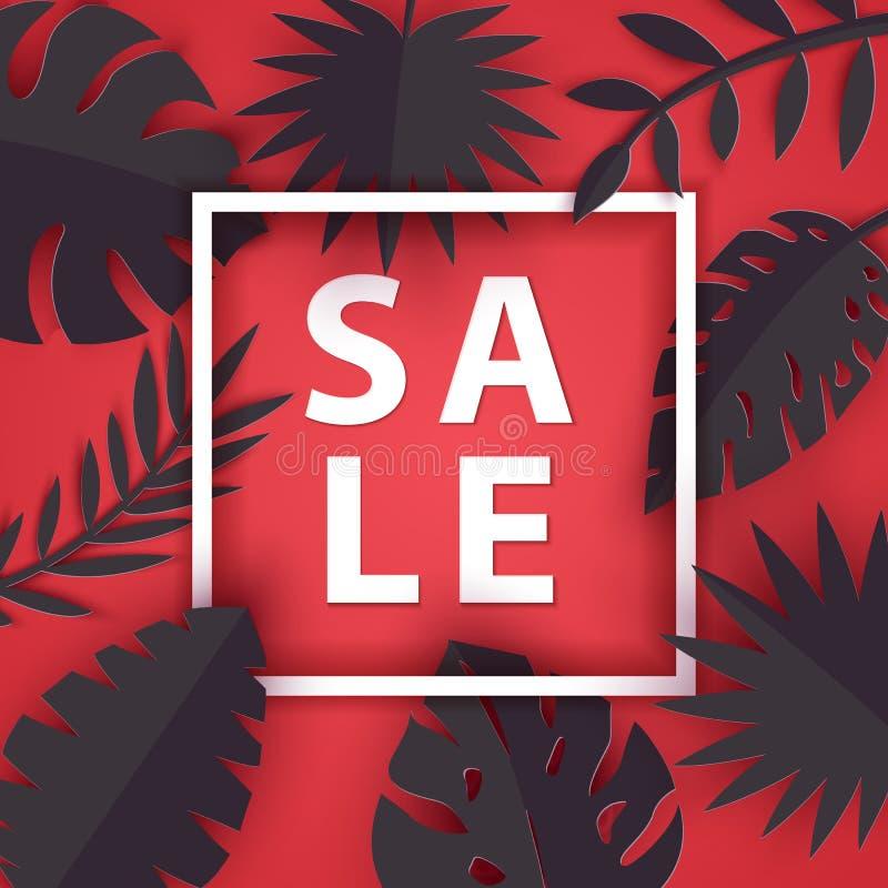 Hojas tropicales del verano negro en el estilo cortado de papel Colección de las plantas de la selva del arte en fondo rojo con l ilustración del vector