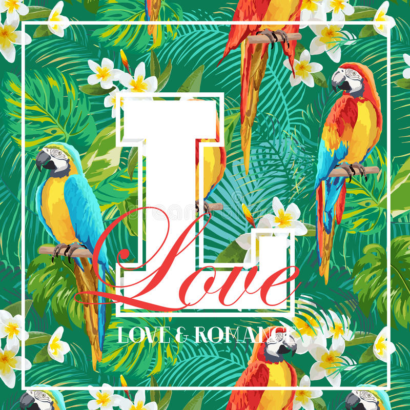 Hojas tropicales del vintage, flores y diseño gráfico del pájaro del loro libre illustration