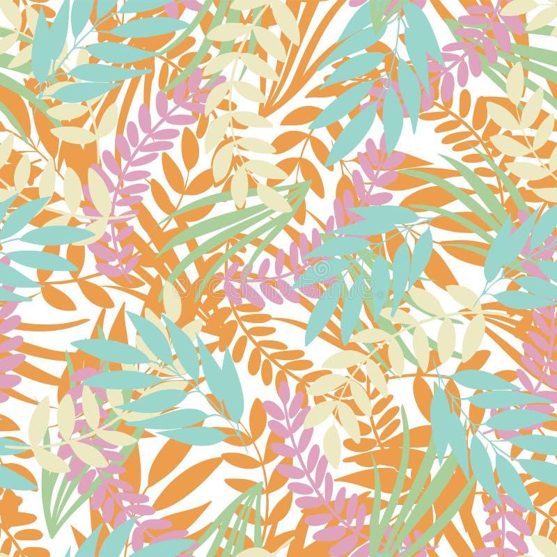 Hojas tropicales en colores pastel del vector en el fondo blanco Follaje salvaje de la selva libre illustration