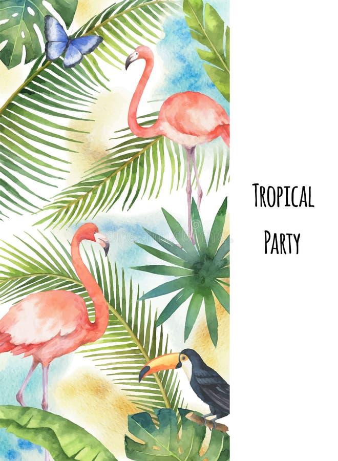 Hojas tropicales, flamenco y tucán de la bandera vertical del vector de la acuarela aislados en el fondo blanco stock de ilustración