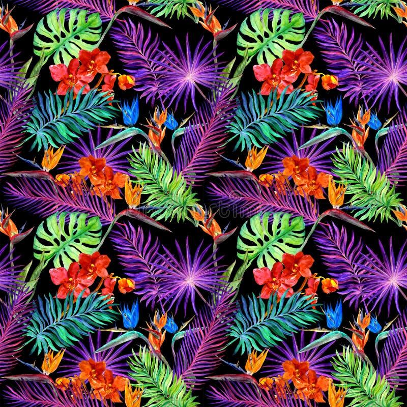Hojas tropicales, flores exóticas en el resplandor de neón Repetición del modelo hawaiano watercolor imagen de archivo