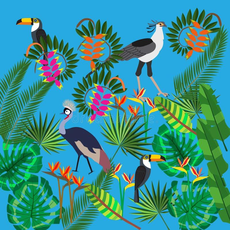 Hojas tropicales, flores exóticas, pájaros africanos, vector libre illustration