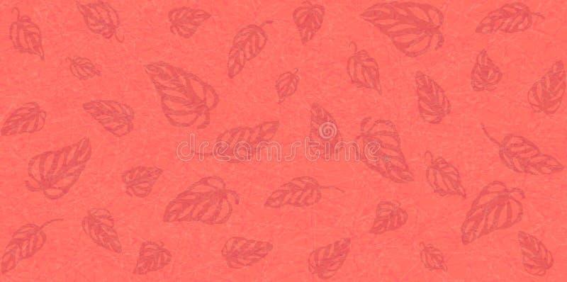 Hojas tropicales Monstera en el fondo texturizado de mármol, color brillante del coral de vida stock de ilustración