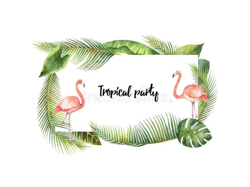 Hojas tropicales y ramas del marco rectangular de la acuarela aisladas en el fondo blanco libre illustration