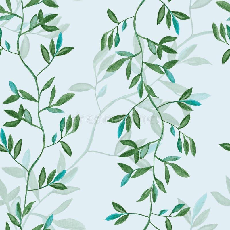 Hojas verdes, pintura de la acuarela de la planta - modelo inconsútil en fondo verde claro ilustración del vector