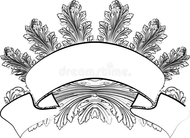 Hojas y bandera barrocas en estilo de la caligrafía. libre illustration
