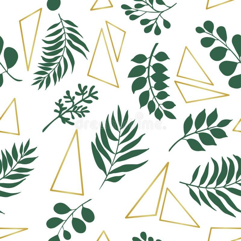 Hojas y elementos exóticos de moda del oro Modelo incons?til ilustración del vector