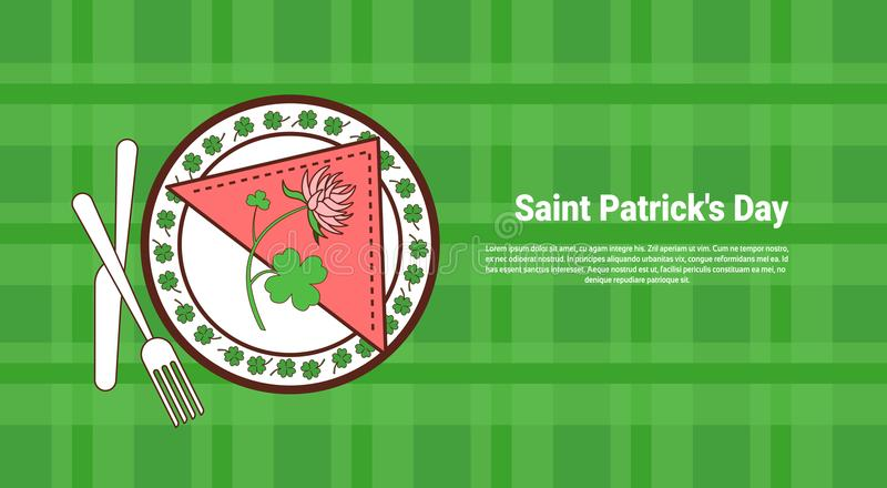 Hojas y flor del trébol en la placa servida sobre bandera del día de Patricks del santo con el fondo comprobado verde de la plant libre illustration