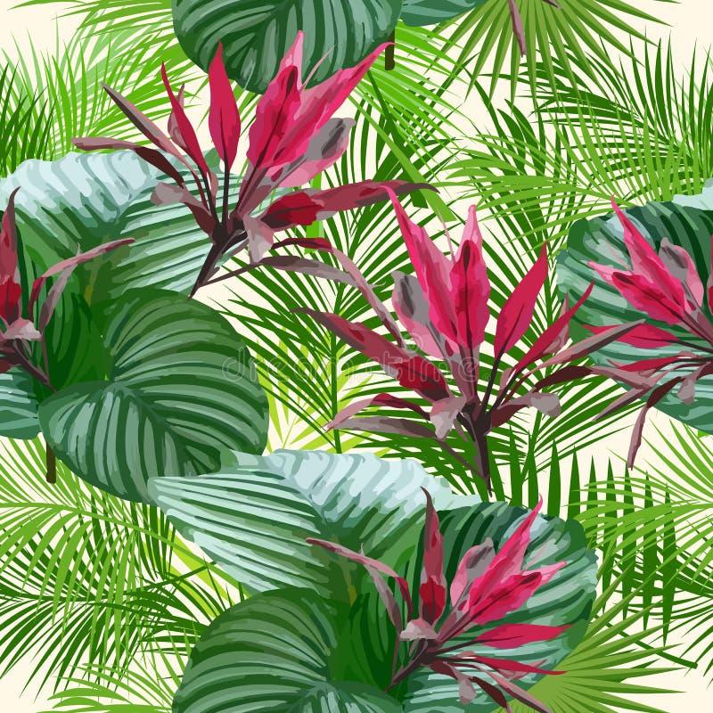 Hojas y flores tropicales de la palmera Modelo inconsútil libre illustration