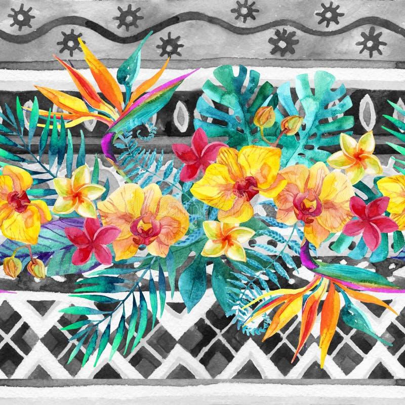 Hojas y flores tropicales en fondo ornamental Fondo del diseño floral stock de ilustración