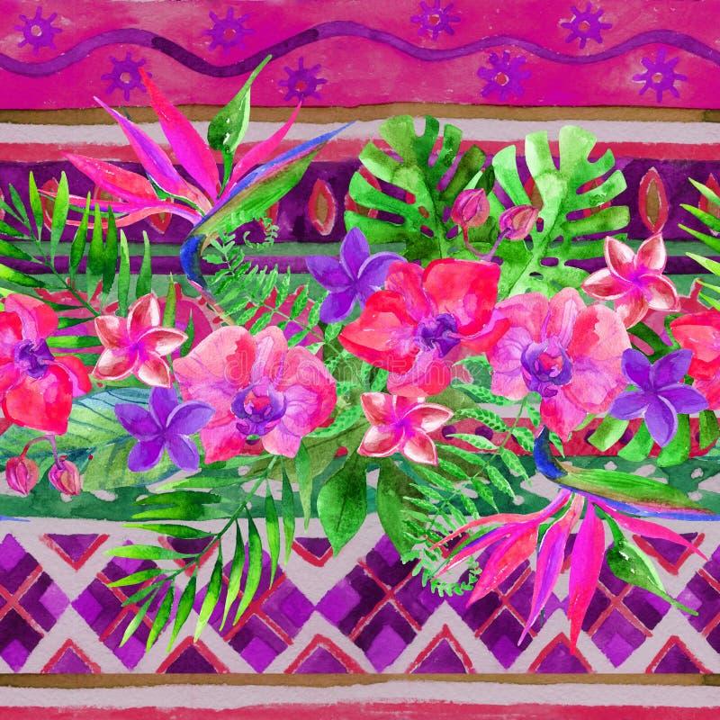Hojas y flores tropicales en fondo ornamental Fondo vivo floral stock de ilustración