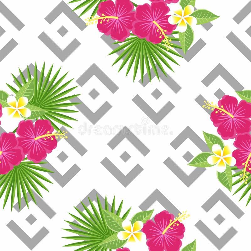 Hojas y flores tropicales inconsútiles - palma, monstera, hibisco y plumeria contra la perspectiva del gris geométrico libre illustration