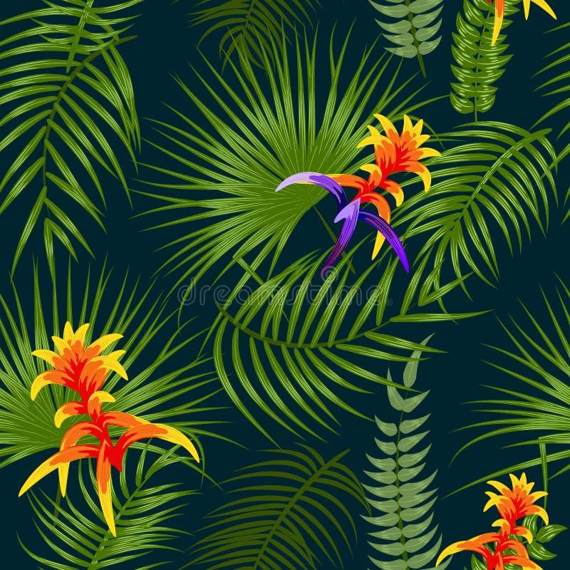 Hojas y flores tropicales modelo inconsútil, vector ilustración del vector