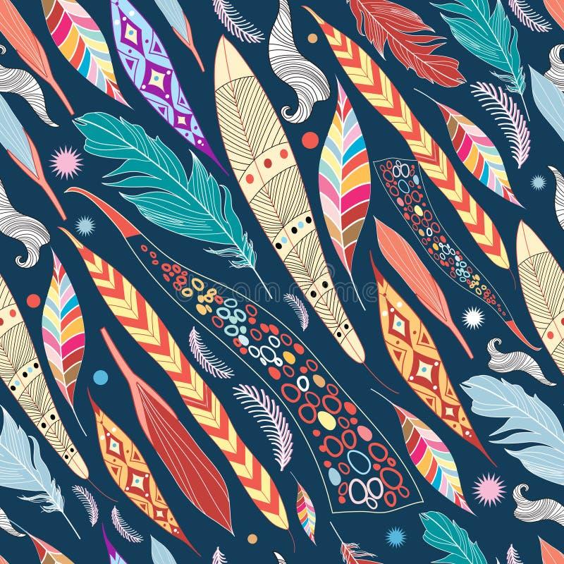 Hojas y modelo de las plumas stock de ilustración