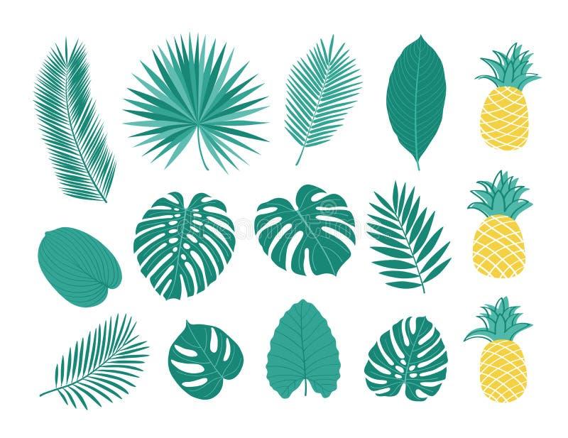 Hojas y piñas tropicales stock de ilustración