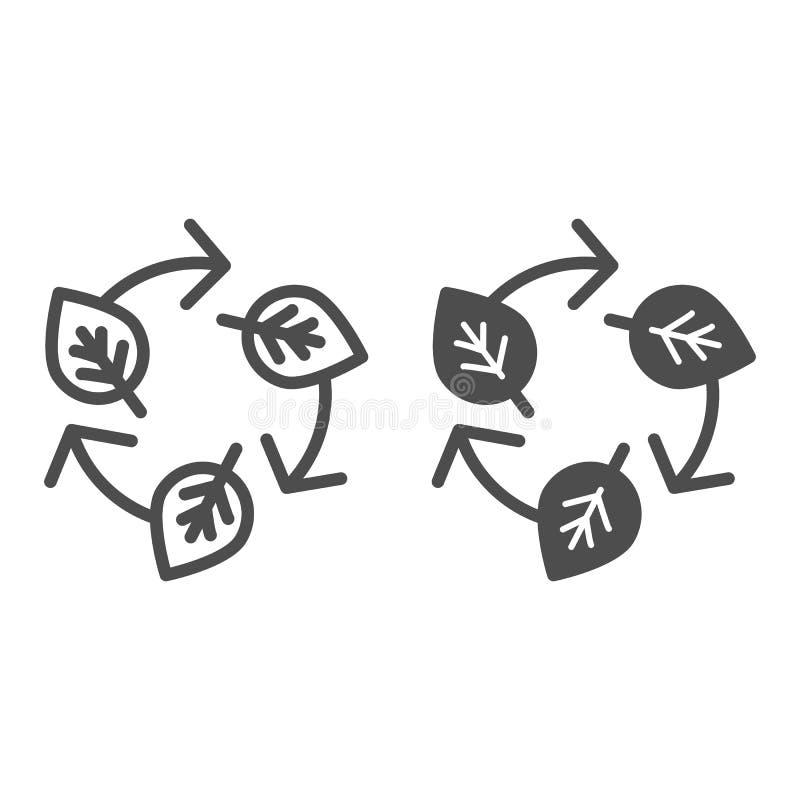 Hojas y reciclar la línea de la muestra y el icono del glyph Ejemplo del vector de la ecología aislado en blanco Naturaleza que ilustración del vector
