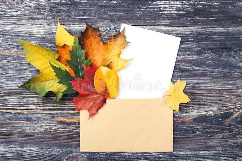 Hojas y tarjeta de otoño en sobre fotos de archivo libres de regalías
