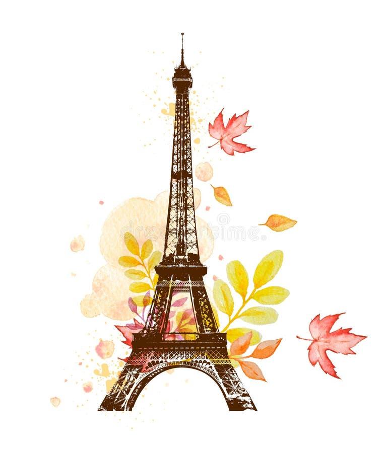 Hojas y torre Eiffel de otoño ilustración del vector