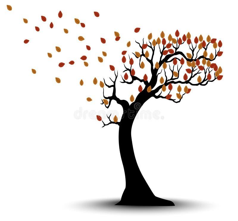 Hojas y viento decorativos de Autumn Tree Silhouette With Brown ilustración del vector