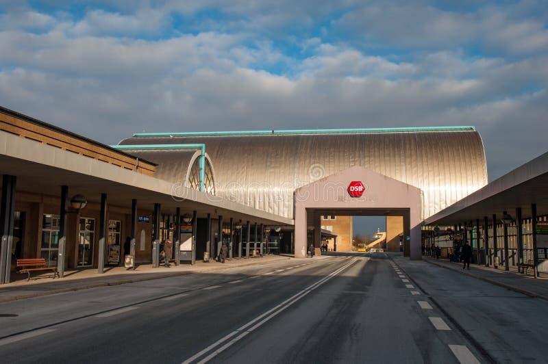 Hoje Taastrup drevstation under vinter royaltyfri foto