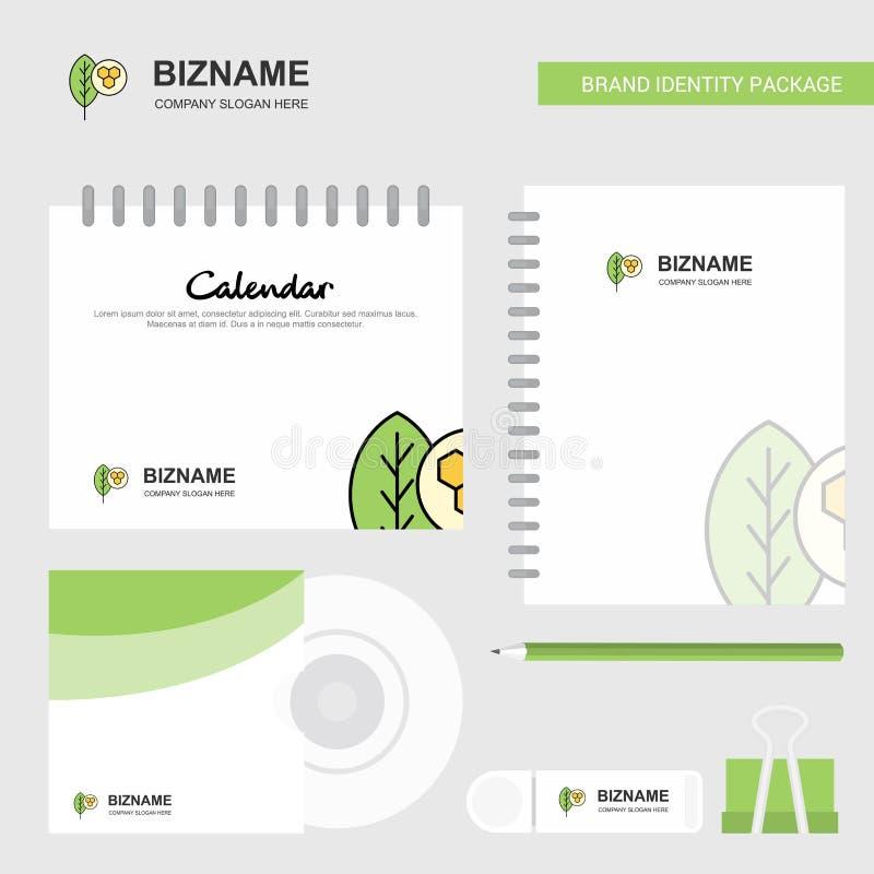 Hojean el logotipo, la plantilla del calendario, la cubierta del CD, el diario y plantilla inmóvil del vector del diseño de paque libre illustration