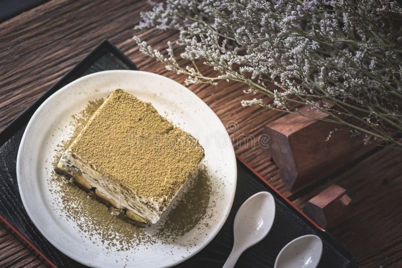 Hojicha banoffee蛋糕 免版税库存照片