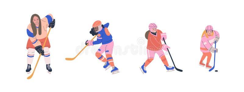 Hokejów na lodzie graczów wektoru żeński set royalty ilustracja