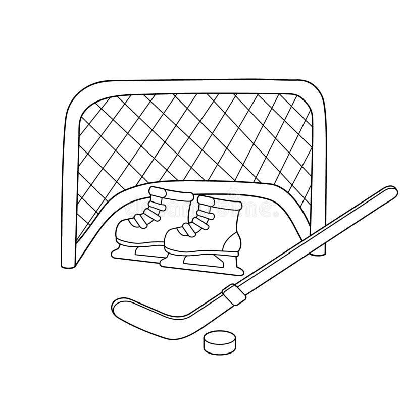 hokej łyżwy Hokejowy kij kiting rzeczna narciarska śnieżna sport zima Kolorystyki książka dla dzieciaków ilustracja wektor