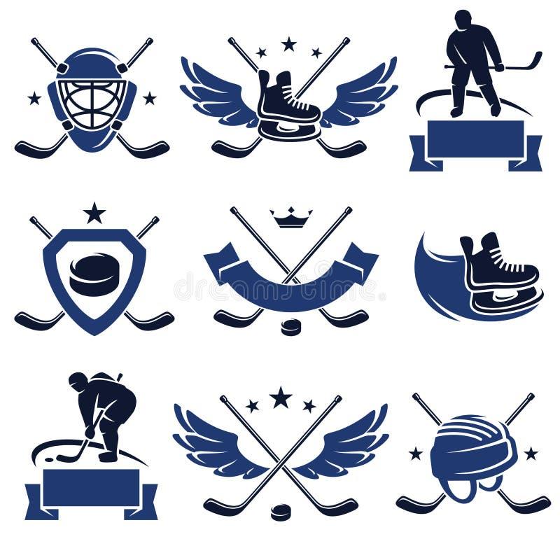 Hokej ikony i wektor royalty ilustracja