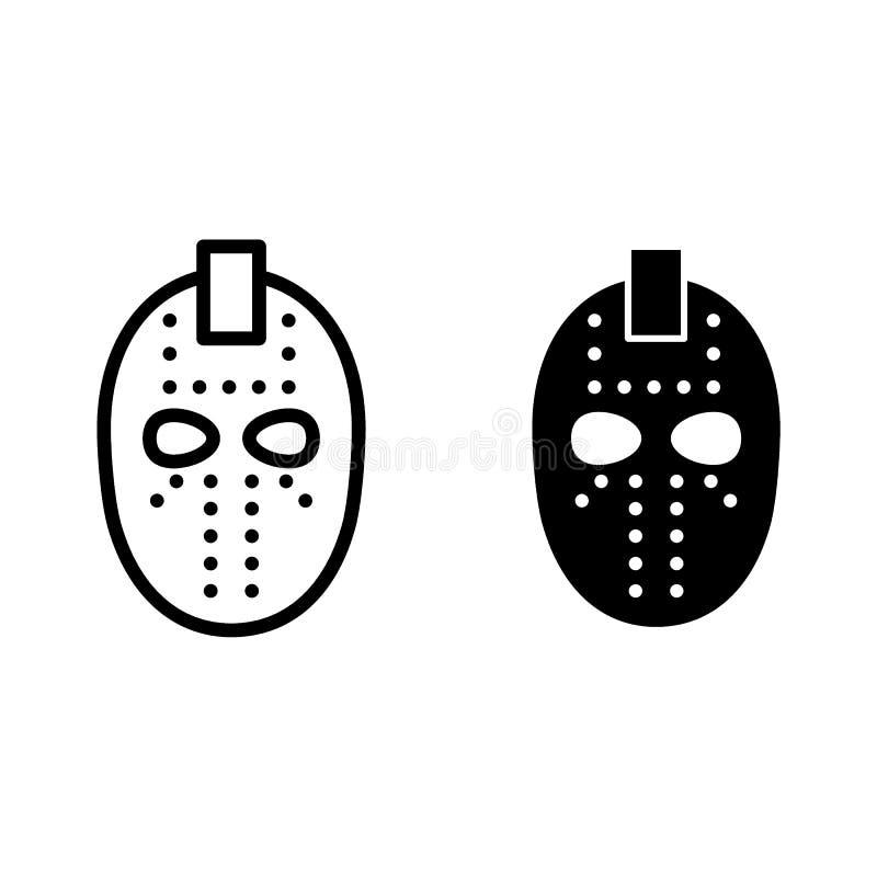 Hokej maski linia i glif ikona Bramkarz maskowa wektorowa ilustracja odizolowywająca na bielu Halloween maski konturu stylu proje royalty ilustracja