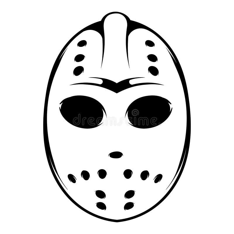 Hokej maskowa ikona, ikony kreskówka royalty ilustracja