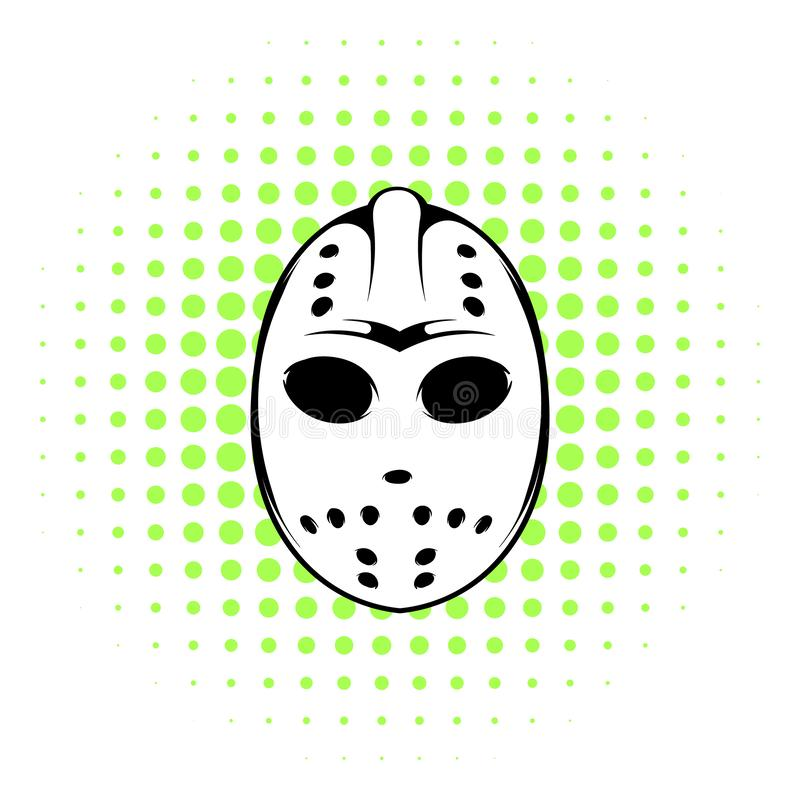 Hokej maskowa ikona, komiczka styl ilustracji