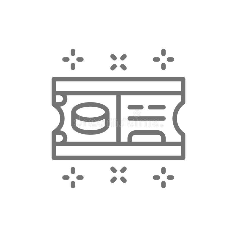 Hokej na lodzie biletowej linii ikona ilustracja wektor