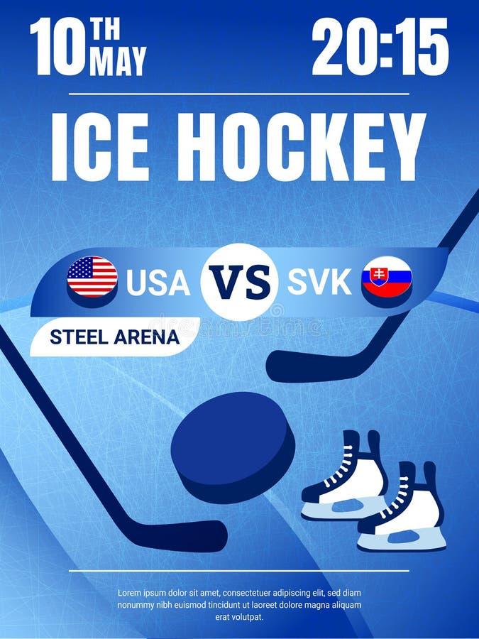 Hokej Na Lodzie plakatowa wektorowa ilustracja USA z Sistani gry ulotką Kraj flag ikony z krążkami hokojowymi Mężczyźni Hokejowi ilustracja wektor