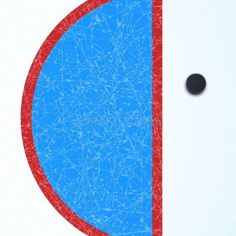 Hokej powierzchnia z krążkiem hokojowym ilustracji