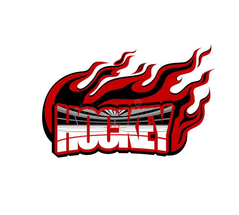 Hokej słowo w postaci logo z wizerunkiem lodowa arena wśrodku wokoło i płomień royalty ilustracja